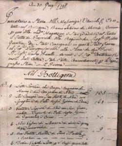 Documento di inventario storico del bottegone del 1798
